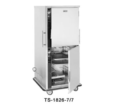 FWE TS-1826-7-7 120 Mobile Heated Cabinet w/ Split Cavity, 5-Pair Univer. Tray Slides, 120V