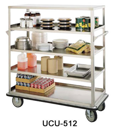 "FWE UC-512 Queen Mary Utility Cart w/ 5-Shelves, 12"" Ches Apart, 1600lb Cap., Stainless"