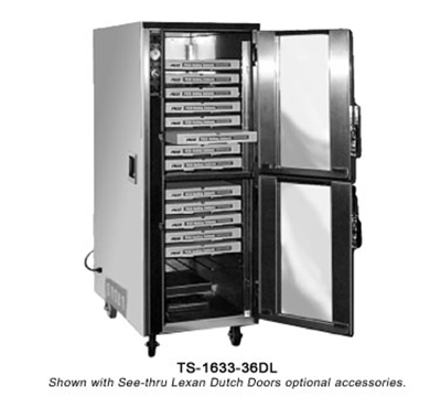 Fwe - Food Warming Equipment TS163336 Mobile Heated Pizza Cabinet w/ 3-Shelves, 18-Pair Tray Slides, 36-Pizza Box/Pan Cap.