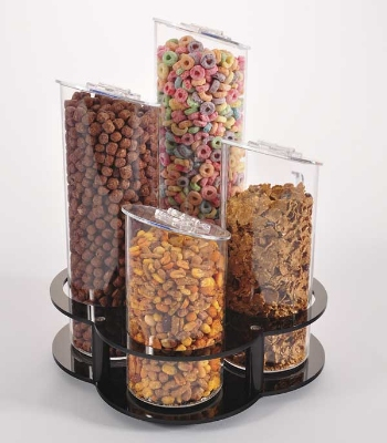 Jule-art 880-1845 4-Piece Rotating Angle Topped Cereal Tubes w/ Lazy Susan Base