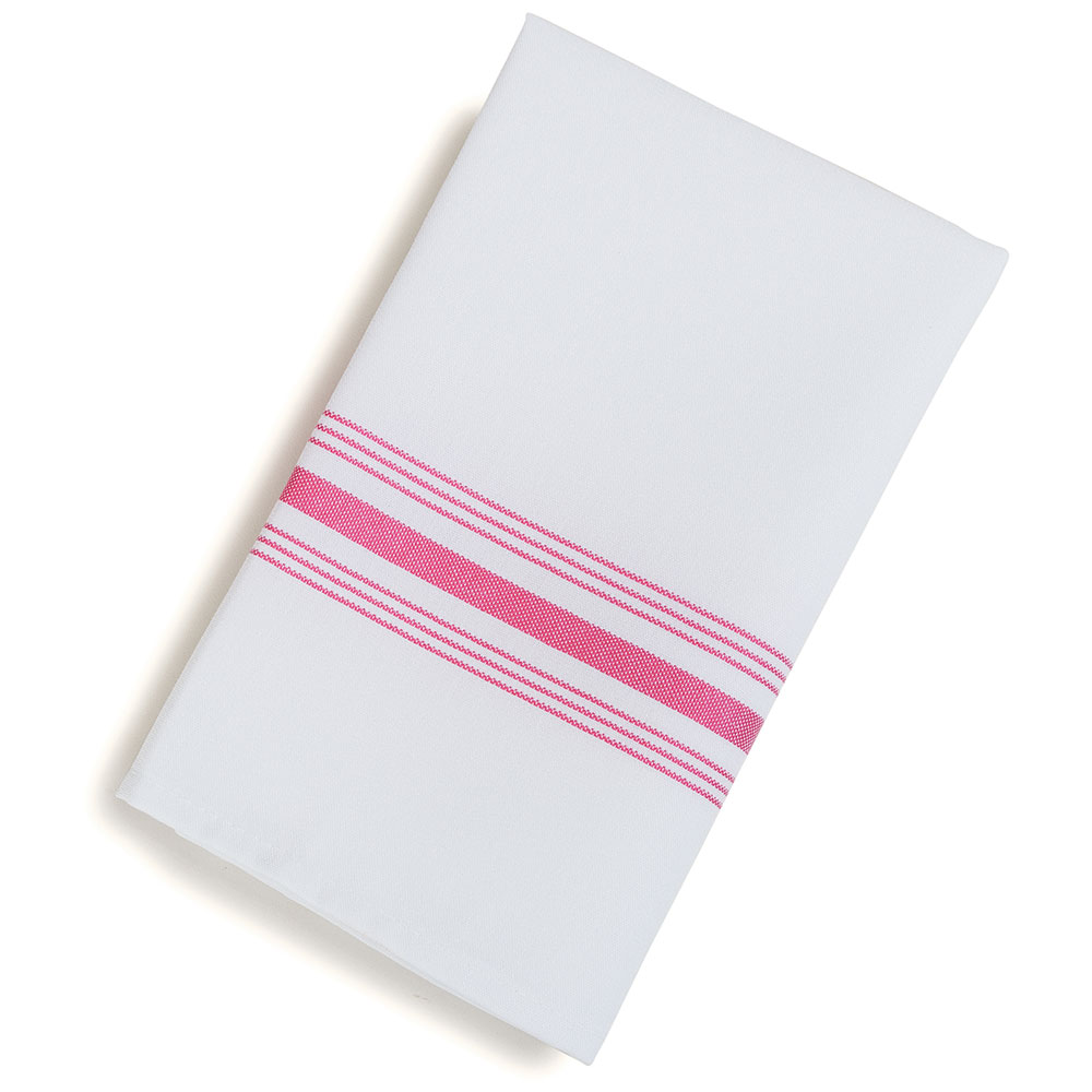 "Marko 53771822NH001 Bistro Striped Napkins - 18x22"", Hemmed Edge, White/Red"