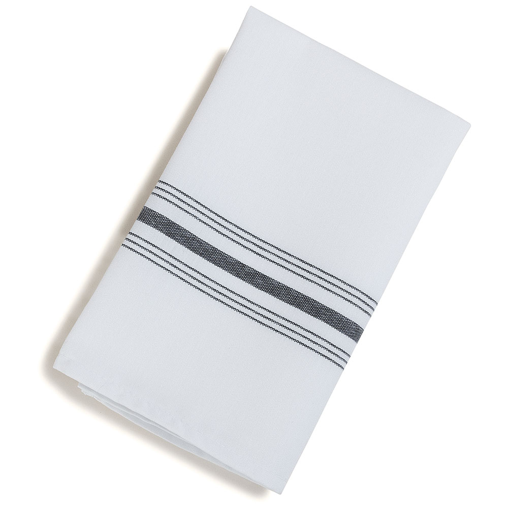 "Marko 53771822NH014 Bistro Striped Napkins - 18x22"", Hemmed Edge, White/Black"