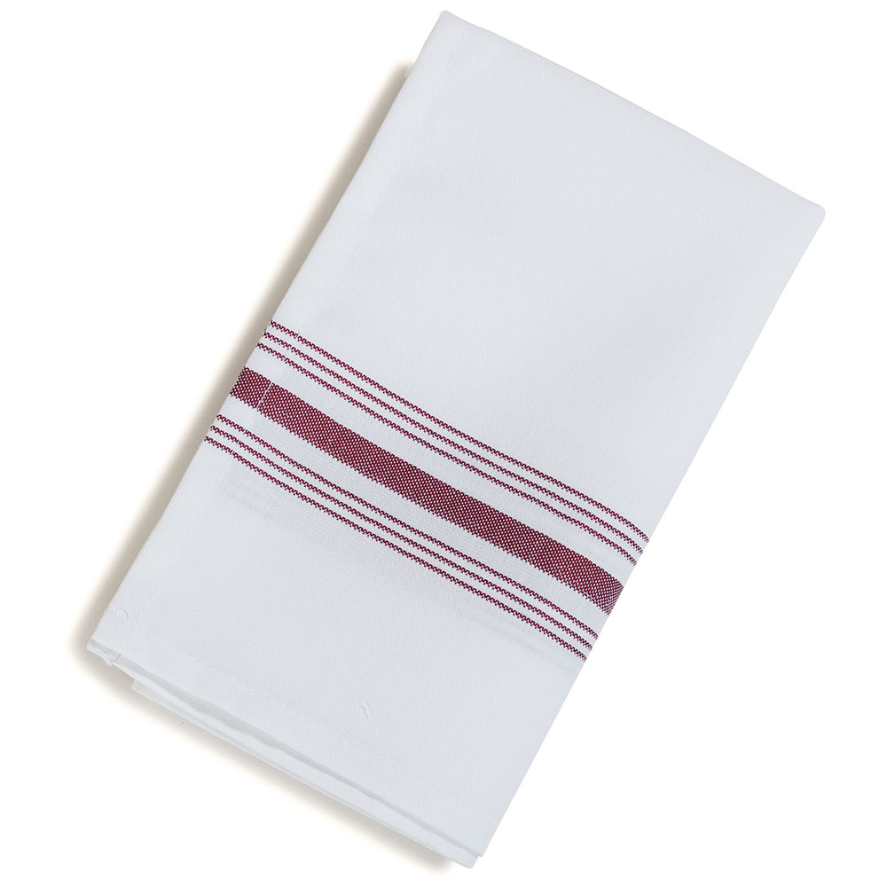 "Marko 53771822NH023 Bistro Striped Napkins - 18x22"", Hemmed Edge, White/Maroon"