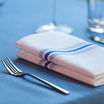 "Marko 53771822NH052 Bistro Striped Napkins - 18x22"", Hemmed Edge, White/Purple"