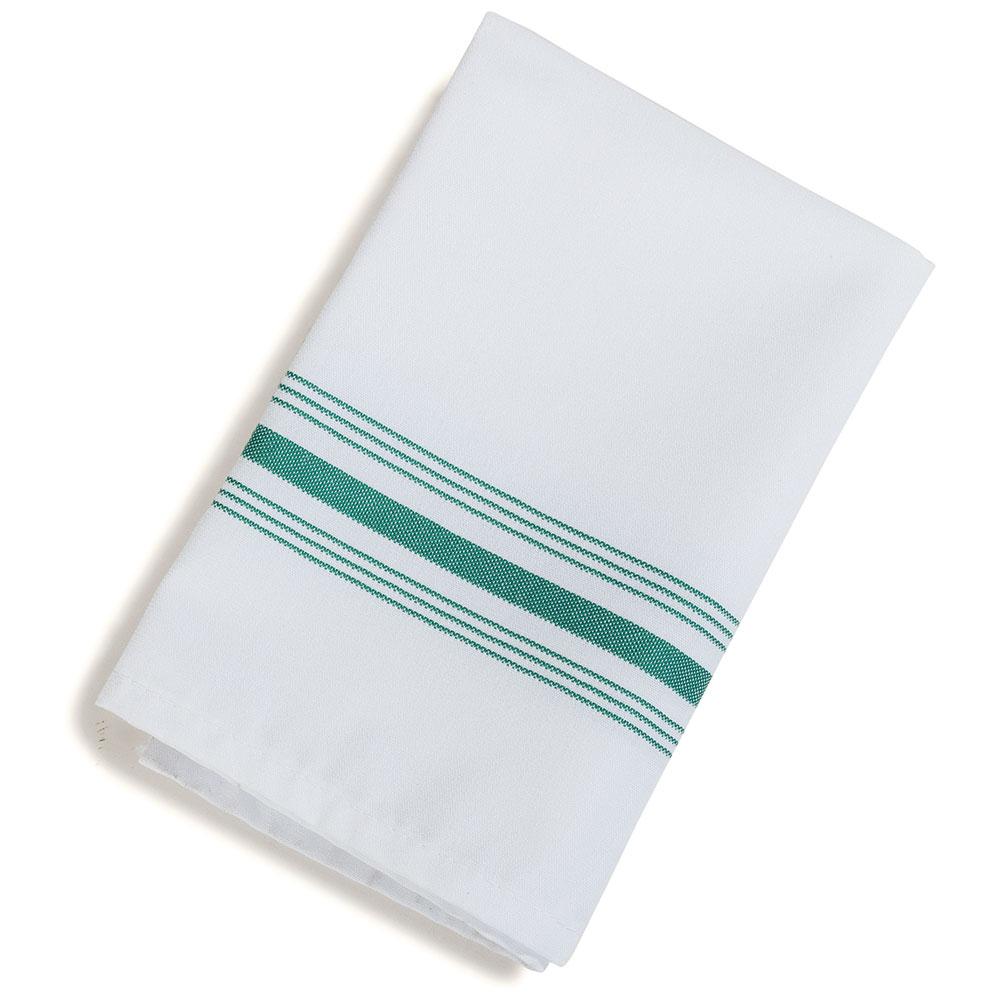 "Marko 53771822NH064 Bistro Striped Napkins - 18x22"", Hemmed Edge, White/Kelly Green"
