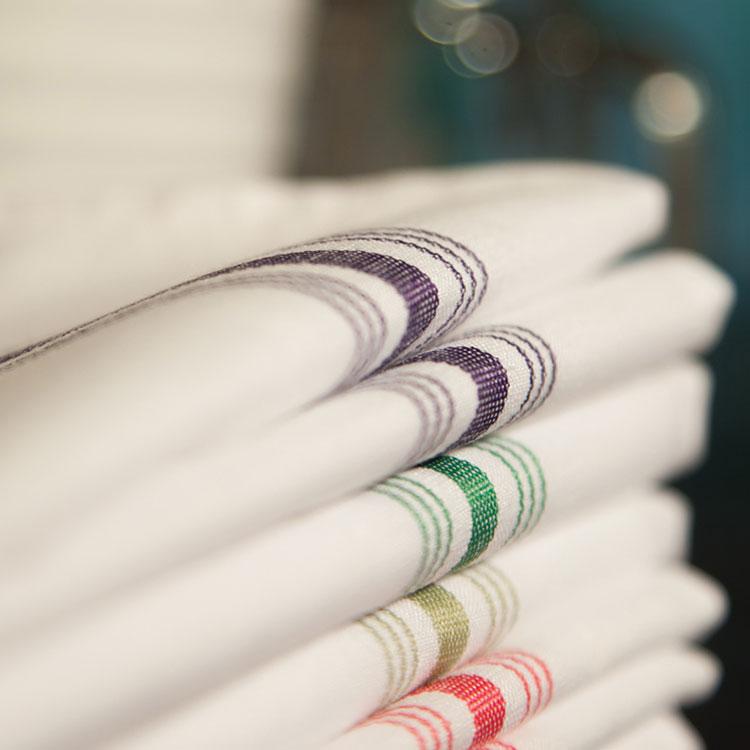 """Marko 53771822NH076 Bistro Striped Napkins - 18x22"""", Hemmed Edge, White/Lime Green"""