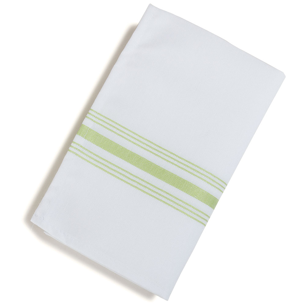 "Marko 53771822NH076 Bistro Striped Napkins - 18x22"", Hemmed Edge, White/Lime Green"