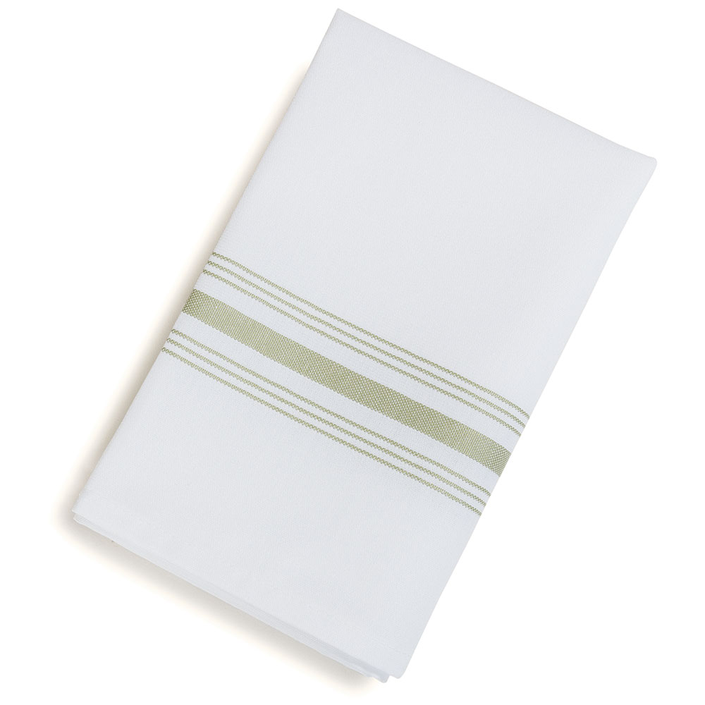"Marko 53771822NH147 Bistro Striped Napkins - 18x22"", Hemmed Edge, White/Sage"