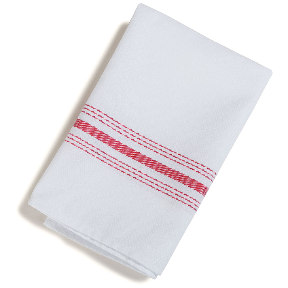"Marko 53771822NH148 Bistro Striped Napkins - 18x22"", Hemmed Edge, White/Raspberry"
