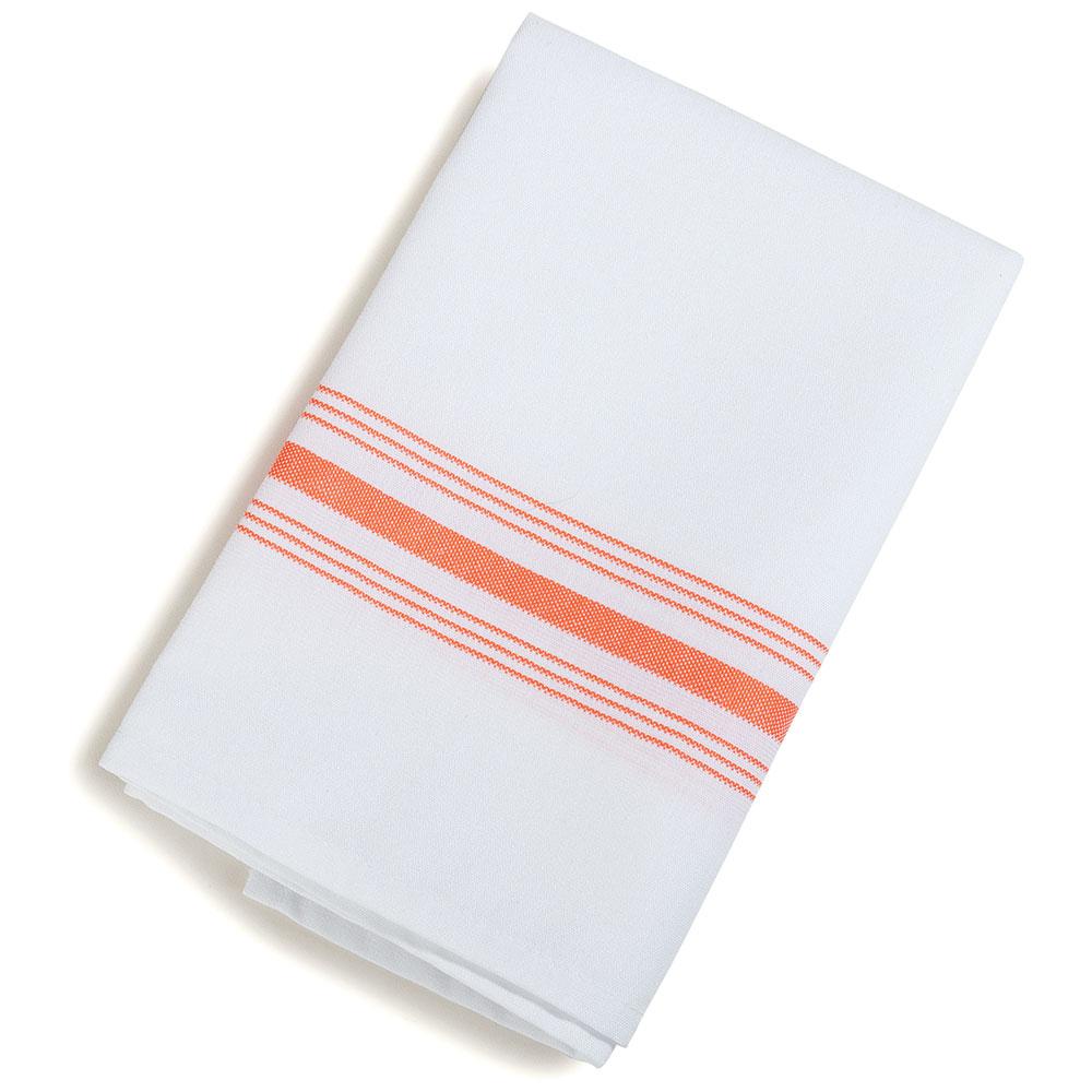 """Marko 53771822NH414 Bistro Striped Napkins - 18x22"""", Hemmed Edge, White w/Orange"""