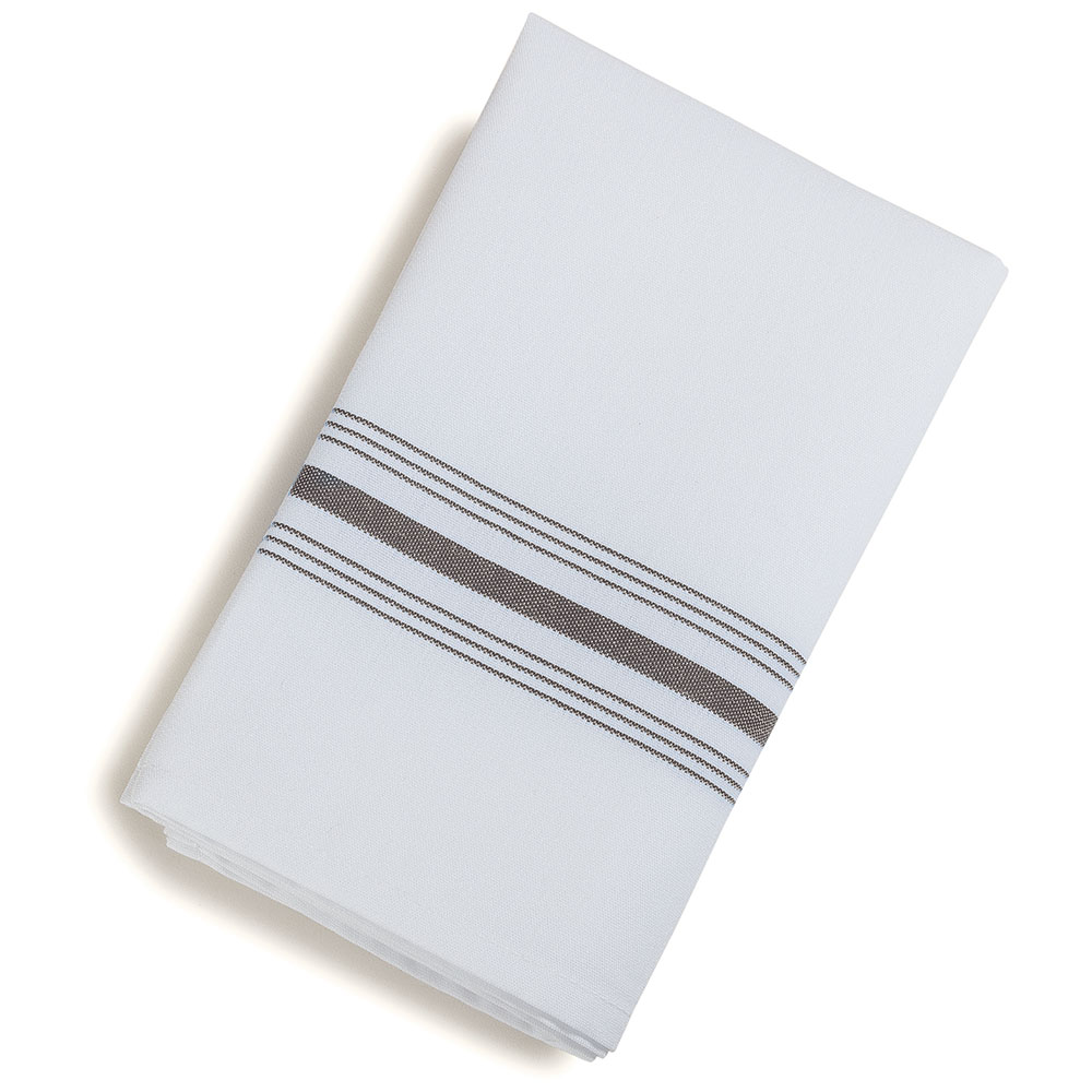 "Marko 53771822NH512 Bistro Striped Napkins - 18x22"", Hemmed Edge, White/Gray"