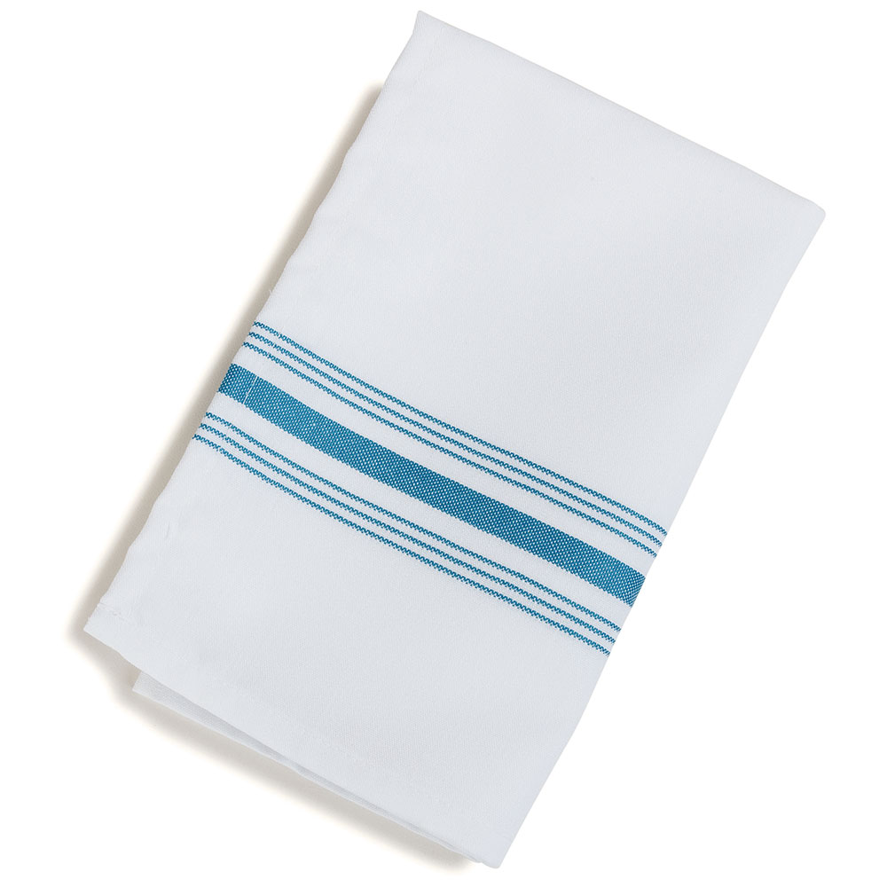 "Marko 53771822NH630 Bistro Striped Napkins - 18x22"", Hemmed Edge, White w/Belize Blue"