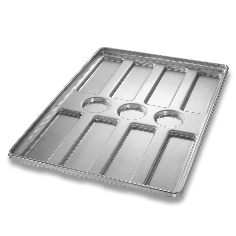 Chicago Metallic 41053 Glazed Hoagie Roll Pan, 4-Rows of 2, Aluminized Steel