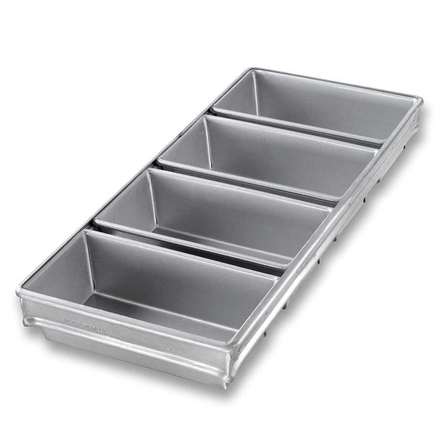 "Chicago Metallic 44065 Glazed Bread Pan Set, Holds (4) 18-11/16 x 19.75"", Aluminized Steel"