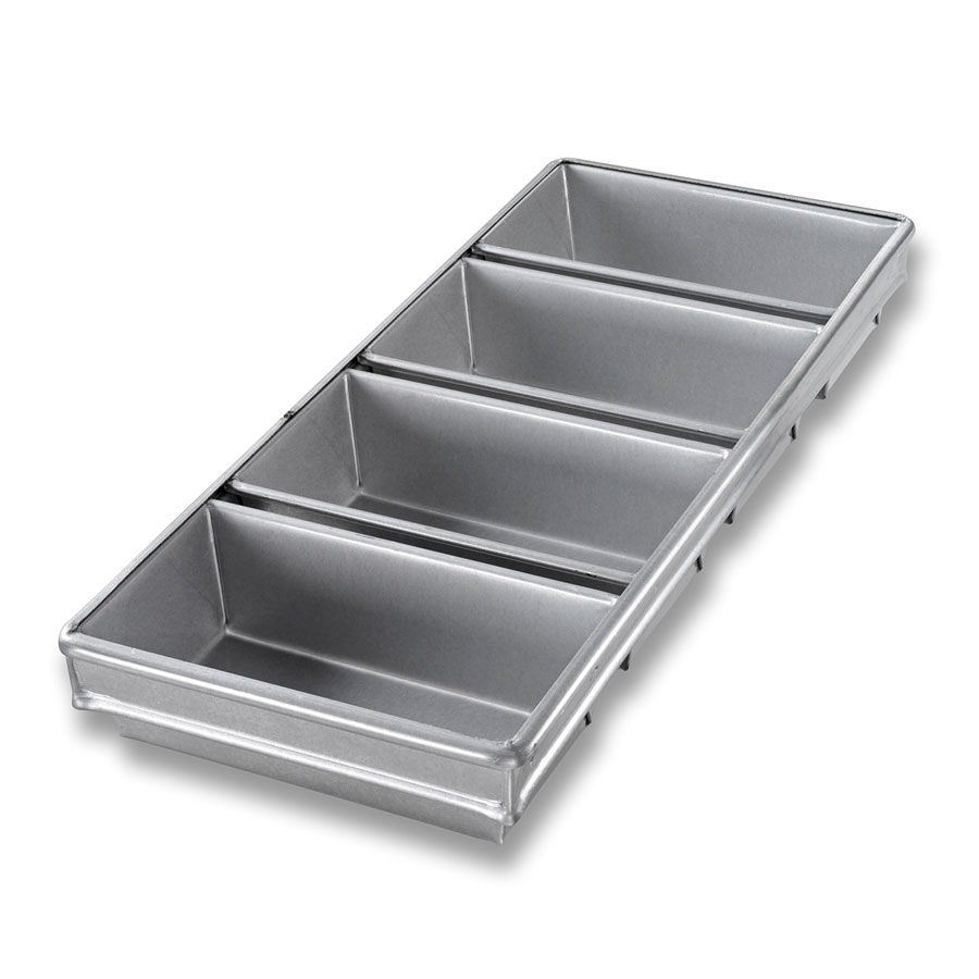 "Chicago Metallic 44245 Glazed Bread Pan Set, (4) 9-7/32 x 21-7/8"", Aluminized Steel"