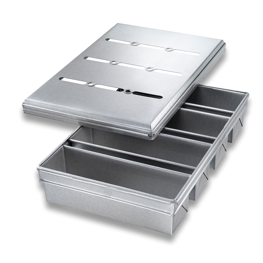 Chicago Metallic 44685 Pullman Pan Set, Holds (4), Glazed Aluminized Steel