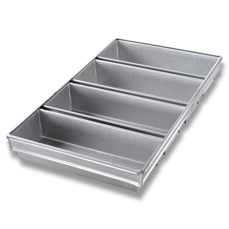 "Chicago Metallic 44945 Bread Pan Set, Holds (4) 12-31/32 x 21-7/8"", Aluminized Steel"