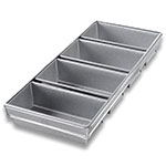 "Chicago Metallic 45642 Bread Pan Set, Holds (4) 9-23/32 x 21-7/8"", Aluminized Steel"