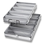 "Chicago Metallic 48514 Crimped Round Bread Pan Set, (4) 10-9/16 x 18-3/8"", Aluminized"