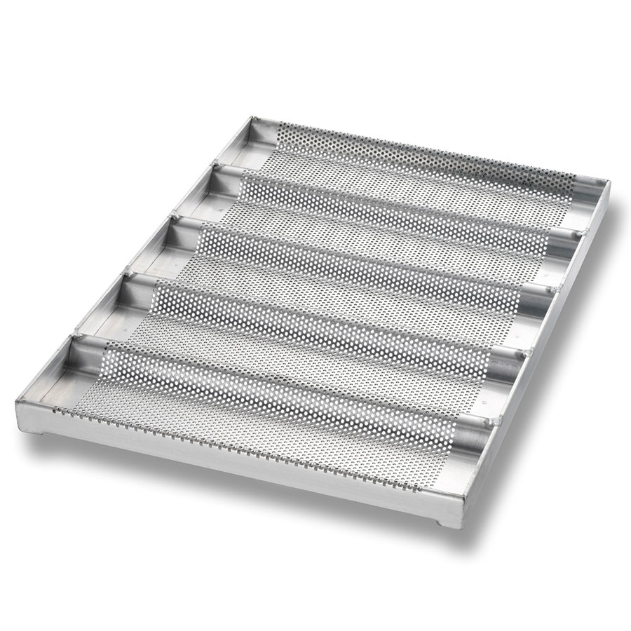 "Chicago Metallic 49014 Glazed Sub Sandwich Roll Pan, Holds (5) 12 .5 x 3"", Aluminum"