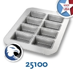 Chicago Metallic 25100 Glazed Mini-Loaf Pan, (8) 11-1/8 x 15.75-in, Aluminized Steel