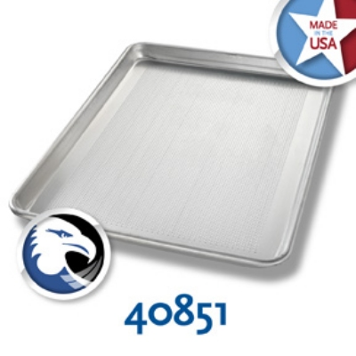 Chicago Metallic 40851 1/2-Size Sheet Pan, Perforated Bottom Only, Aluminum, Glazed