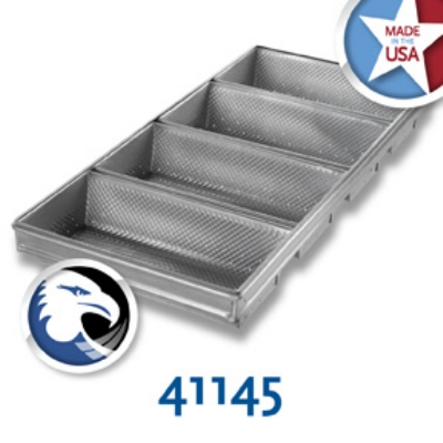 Chicago Metallic 41145 Hearth Bread Pan Set, 4-Loaves, Aluminized Steel