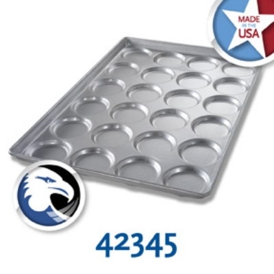 Chicago Metallic 42345 Hamburger Bun Muffin Top Cookie Pan, Holds 4-Rows of 6