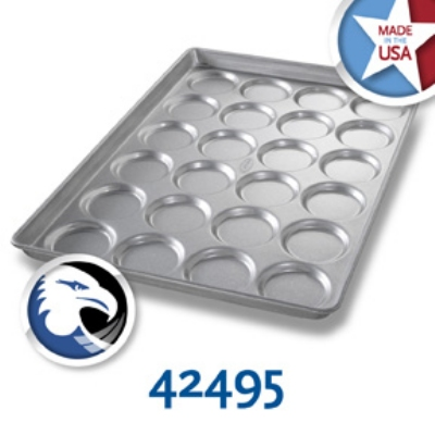 Chicago Metallic 42495 Hamburger Muffin Cookie Pan, 4-Rows of 6