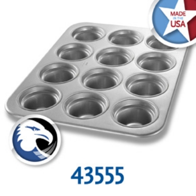 Chicago Metallic 43555 Large Crown Muffin Pan, (12) 7.3-oz, Aluminized Steel