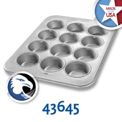 Chicago Metallic 43645 Large Muffin Pan, Holds (12) 5-oz, Aluminized Steel
