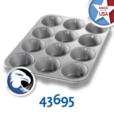 Chicago Metallic 43695 Oversized Muffin Pecan Roll Pan, (12) 8.2-oz, Aluminized Steel
