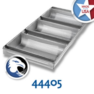 Chicago Metallic 44405 Hearth Bread Pan Set, (3) 12-3/16 x 25-7/8-in, Aluminized Steel