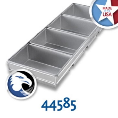 Chicago Metallic 44585 Bread Pan Set, Glazed, Holds (4) 9-3/16 x 26-in, Aluminized Steel