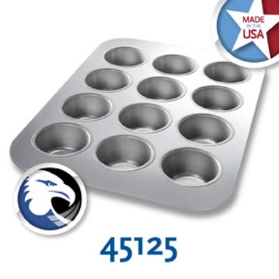 Chicago Metallic 45125 Cupcake Muffin Pan, Aluminized Steel,  (12) 3.8-oz