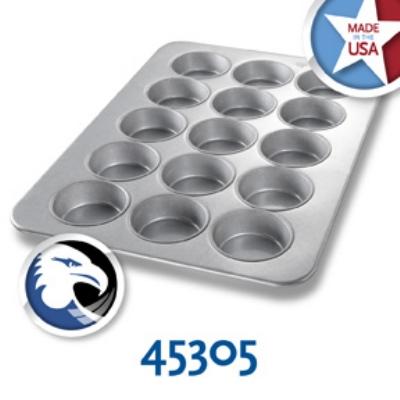 Chicago Metallic 45305 Oversized Muffin Mini Cake Pan, (15) 10.5-oz, Aluminized Steel