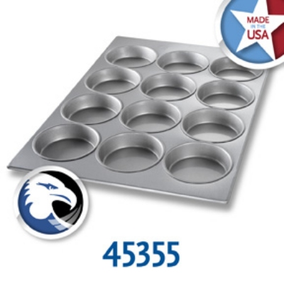 Chicago Metallic 45355 Oversized Muffin Mini Cake Pan, (12) 16.5-oz, Aluminized Steel