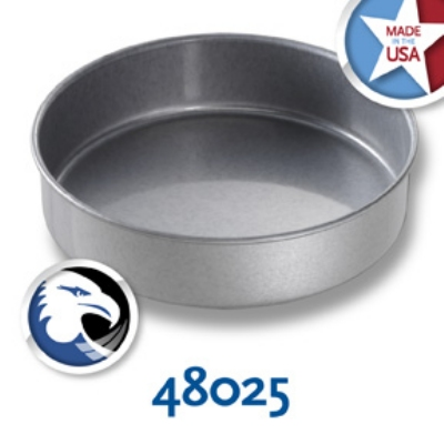 Chicago Metallic 48025 Glazed Round Cake Pan, 8 x 2-in, Aluminized Steel