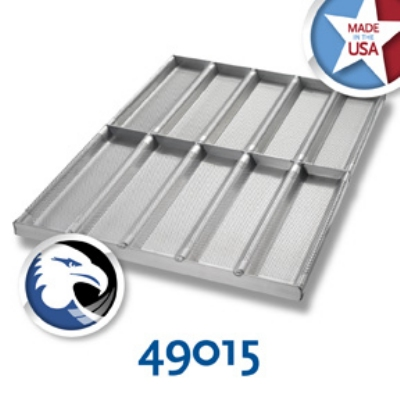 Chicago Metallic 49015 Sub Sandwich Roll Pan, Holds (10) 12.5 x 3-in, Aluminum, Glazed