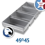Chicago Metallic 49145 Bread Pan Set 91-4, Holds 4-Loaves, Aluminized Steel