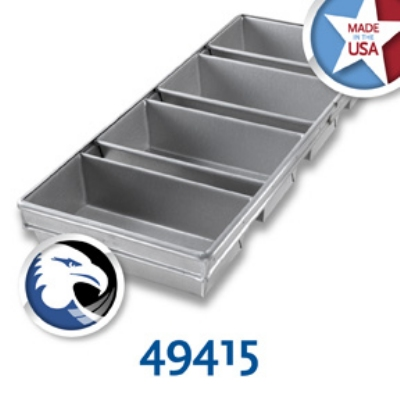 Chicago Metallic 49415 Bread Pan Set 91-4L, Holds 4-Loaves, Aluminized Steel