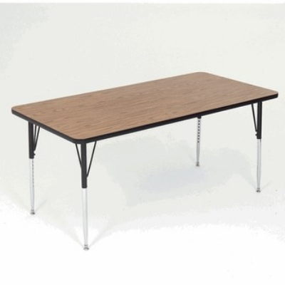 "Correll A2448-REC 01 Activity Table w/ 1.25"" High Pressure Top, 24 x 48"", Walnut"