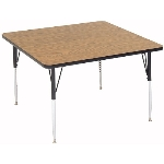 "Correll A4848-SQ 01 Square Activity Table w/ 1.25"" High Pressure Top, 48 x 48"", Walnut"