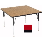 "Correll A4848-SQ 35 Square Activity Table w/ 1.25"" High Pressure Top, 48 x 48"", Red"