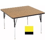 "Correll A4848-SQ 38 Square Activity Table w/ 1.25"" High Pressure Top, 48 x 48"", Yellow"
