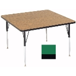 "Correll A4848-SQ 39 Square Activity Table w/ 1.25"" High Pressure Top, 48 x 48"", Green"