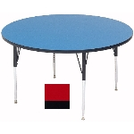 "Correll A48-RND 35 48"" Round Table w/ 1.25"" High Pressure Top, Red"