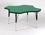"Correll A48-CLO 02 Activity Table w/ 1.25"" High Pressure Top, 48"" Clover Shape, Oak"