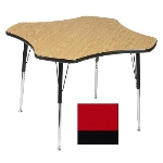 "Correll A48-CLO 35 Activity Table w/ 1.25"" High Pressure Top, 48"" Clover Shape, Red"