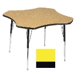 "Correll A48-CLO 38 Activity Table w/ 1.25"" High Pressure Top, 48"" Clover Shape, Yellow"